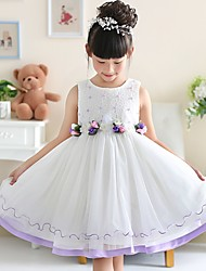 A-line Knee-length Flower Girl Dress - Cotton / Satin / Tulle Sleeveless Jewel with Flower(s) / Pearl Detailing