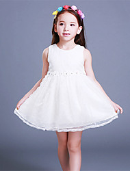 A-line Knee-length Flower Girl Dress - Satin / Tulle / Polyester Sleeveless Jewel with Flower(s)