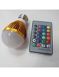E27 85V-265V 100-230Lm 3W RGB Remote Control LED Colorful Bulbs