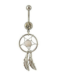 MOGE Lady's Stainless Steel Zircon Navel Belly Button Ring Dancing Body Jewelry Piercing Body Jewelry