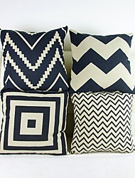 Set Of 4 Striated Geometric Cotton/Linen Pillow Cover