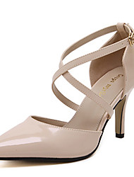 Damen-High Heels-Kleid-Mikrofaser-Stöckelabsatz-Absätze / Spitzschuh-Schwarz / Mandelfarben