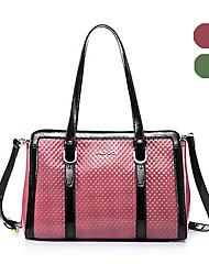 AOVO® Women Cowhide Shoulder Bag Green / Red-923