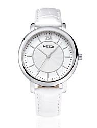 KEZZI Couple's Fashion Watch / Quartz Japanese Quartz Leather Band Casual Black White Brown