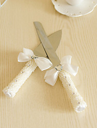 Wedding Accessories Pearl Handle Cake Knife And Server Serving Set with Crystal Heart,White