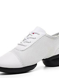 Women's Dance Shoes Sneakers Breathable Leather Low Heel Black/White
