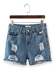 Pantalon Aux femmes Short / Jeans simple Lin Micro-élastique