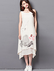 Women's Casual/Daily Chinoiserie Loose Dress,Print Round Neck Midi Sleeveless White / Beige Linen Summer
