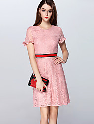 Boutique S Going out/ Cute Sheath Dress,Solid Round Neck Knee-length Long Sleeve PinkRayon