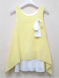 Girl's Casual/Daily Solid DressPolyester Summer Blue / Red / Yellow