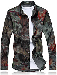 Men's Fashion Casual Printing Long Sleeve Shirt Plus Size (Cotton)