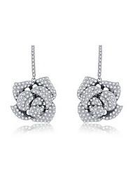 Women's Silver Rose Flower Stud Earrings