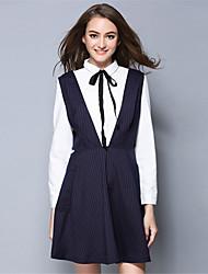mulheres aofuli além de bolso tarja elegância sem mangas tamanho simples Um vestido de linha + saia conjunto de duas peças