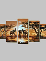 Pintada a mano Abstracto Cualquier Forma,Tradicional Cinco Paneles Pintura al óleo pintada a colgar For Decoración hogareña