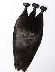 3pcs / lot virgens seda cabelo peruano retas extensões de cabelo humano natural preto 8 '' - 30 '' cabelo tece bundles