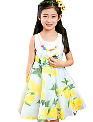 Girl's Casual/Daily Solid Dress,Polyester Summer Yellow