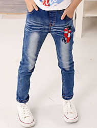Girl's Cotton Spring/Autumn Fashion Embroidered Children Skinny Jeans