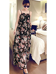 Women's Casual/Daily / Cute Swing Dress,Floral Strap Maxi Sleeveless White / Black Others Summer