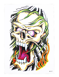 1pc Temporary Tattoo Sticker Women Men Body Arm Art Skull Horrible Death Fire Bone Picture Design Tattoo HB-377