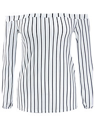 Women's Fine Stripe Casual/Daily Simple / Street chic Spring / Fall Fashion Slim Backless T-shirt,Striped Boat Neck Long Sleeve