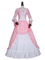 One-Piece/Dress Sweet Lolita Steampunk® / Victorian Cosplay Lolita Dress Pink Solid Long Sleeve Long Length Dress For WomenSatin / Lace /