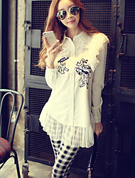 Women's Going out / Casual/Daily / Holiday Simple / Cute / Street chic Shirt,Print Shirt Collar Long Sleeve
