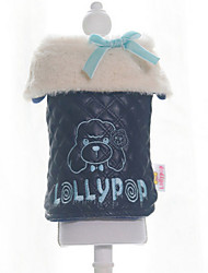 Dog Coat Black / White Winter Bowknot / Letter & Number Keep Warm, Dog Clothes / Dog Clothing