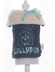 Dog Coat Black / White Winter Bowknot / Letter & Number Keep Warm, Dog Clothes / Dog Clothing