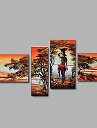 Pintados à mão Abstracto / Paisagem / Pessoas / Fantasia Pinturas a óleo,Modern / Pastoril / Estilo Europeu 4 Painéis TelaHang-painted