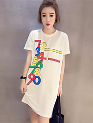 Damen Druck Einfach Lässig/Alltäglich T-shirt,Rundhalsausschnitt Sommer / Herbst Kurzarm Weiß / Schwarz Polyester Mittel