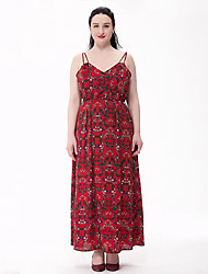 Women's Plus Size Boho Swing Dress,Print Strap Maxi Sleeveless Red Cotton / Polyester Summer