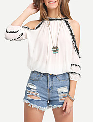 Women's Going out Street chic Spring / Summer Blouse,Color Block Halter ½ Length Sleeve White Polyester Sheer