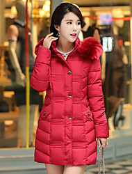 Women's Solid Red / Black / Gray / Green Padded Coat,Street chic Hooded Long Sleeve