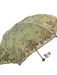 Green Folding Umbrella Sun umbrella Textile Travel / Lady