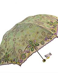Зеленый Складные зонты Зонт от солнца текстиль Путешествия / Lady