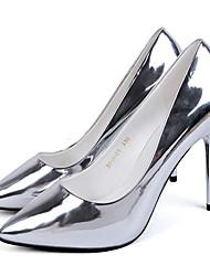 Серебристый / Серый-Женский-Для праздника / Для вечеринки / ужина-Дерматин-На шпильке-На каблуках-Обувь на каблуках