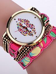 bohème bande de tissu de style blanc cas lèvre de la souris quartz analogique bracelet couches montre de mode féminine