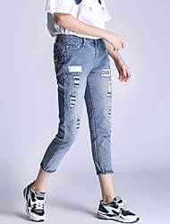 Women's Patchwork Blue Jeans Pants,Simple