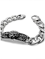 Punk Style Men's 316 Titanium Steel Silver Lion Head Holloween Fine Jewelry Chain Bracelet