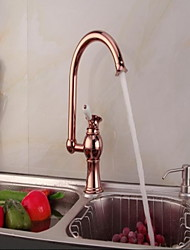 Deck Mounted Single Handle One Hole with Rose Gold Kitchen faucet