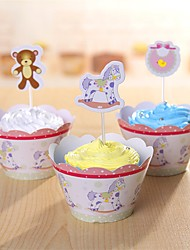 Cupcake Decorations Set 12Pcs(Cupcake Toppers & Cupcake Wrapper Liner) Party Birthday Holiday
