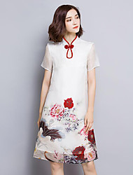 Women's Plus Size Sophisticated Sheath Dress,Floral Stand Above Knee Short Sleeve White Silk Summer