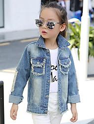 Girl's Cotton Spring/Autumn Fashion Patchwork Cartoon Sequin Long Sleeve Cowboy Jacket Denim Coat