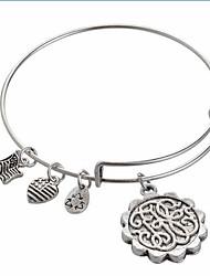 Women's Fashion Lovely Letter Pattern Silver Charm Bracelet