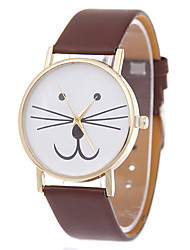 Cute Cat Shape White Case Leather Band Analog Quartz Fashion Watch
