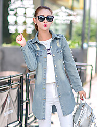 Women's Going out / Casual/Daily Simple Fall Denim Jackets,Solid Shirt Collar Long Sleeve Blue Cotton Medium