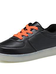 Para Meninas-Tênis-Conforto Light Up Shoes-Rasteiro-Preto Branco-Couro Ecológico-Casual
