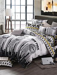 City Life Print Bedlinen Fleece winter bedding set queen king size soft bedsheet pillowcase Duvet cover 4pcs bed set