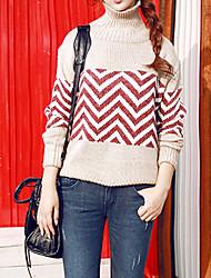 Normal Pullover Femme Décontracté / Quotidien simple,Rayé Blanc Col Roulé Manches Longues Coton / Polyester Automne Moyen