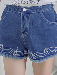 Women's Embroidered Blue Jeans / Shorts Pants,Simple